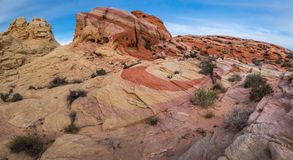 Striped Rock. Panoramic Composition Of Striped Rock With Nike Swoosh, Valley Of Fire State Park, Nevada Royalty Free Stock Photography