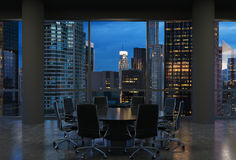 Panoramic conference room in modern office, cityscape of New York skyscrapers at night, Manhattan. Black chairs and a black round table. 3D rendering Stock Image