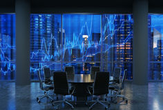 Panoramic conference room in modern office, cityscape of New York skyscrapers at night, Manhattan. Stock Photo