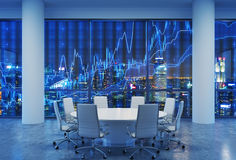 Panoramic conference room in modern office, cityscape of Singapore skyscrapers at night. Financial chart is over the cityscape. White chairs and a white round Stock Image