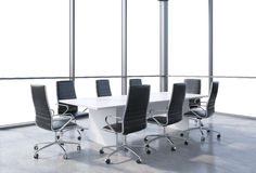 Panoramic conference room in modern office, copy space view from the windows. Black chairs and a white table. Royalty Free Stock Photo