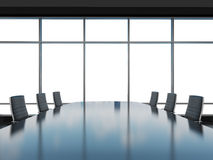 Panoramic conference room in modern office, copy space view from the windows. Black leather chairs and a black table. 3D rendering Stock Images