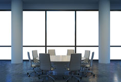 Panoramic conference room in modern office, copy space view from the windows. White chairs and a white round table. Royalty Free Stock Photo