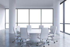 Panoramic conference room in modern office, copy space view from the windows. White chairs and a white round table. 3D rendering Royalty Free Stock Photos