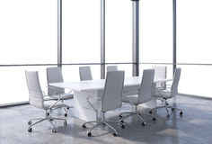 Panoramic conference room in modern office, copy space view from the windows. White chairs and a white table. Stock Photo