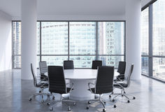 Panoramic conference room in modern office in Moscow business centre, so-called Moscow-City. Stock Image