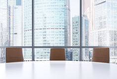 Panoramic conference room in modern office, Moscow International Business Center view. Royalty Free Stock Photos