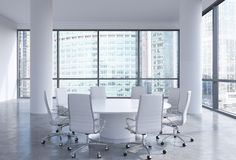Panoramic conference room in modern office in Moscow, Russia. White chairs and a white round table. Royalty Free Stock Photography
