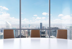 Panoramic conference room in modern office, New York city view from the windows. Close-up of the brown chairs and a white round ta vector illustration