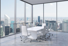 Panoramic conference room in modern office in New York City. White chairs and a white table. Royalty Free Stock Photography
