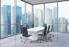 Panoramic conference room in modern office in Singapore. Black chairs and a white table. 3D rendering Royalty Free Stock Photo