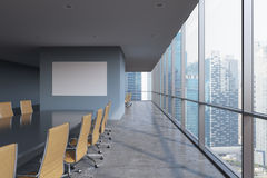 Panoramic conference room in modern office in Singapore. Brown chairs and a black table. 3D rendering Royalty Free Stock Photos