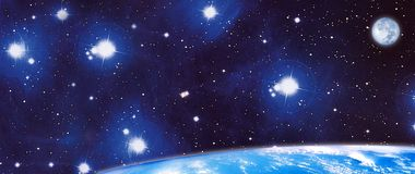 Panoramic cosmos. Illustration of the cosmos and the blue planet Royalty Free Stock Photo