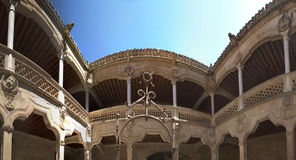 Panoramic Courtyard with well Stock Images