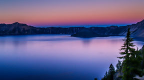 Panoramic of Crater Lake in Oregon. Royalty Free Stock Images