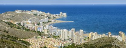 Panoramic of Cullera and the beach stock images