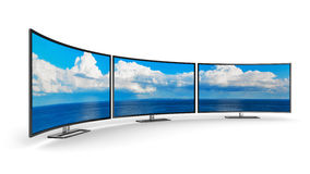 Panoramic curved displays Stock Photo
