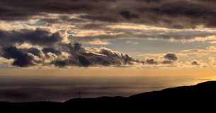 Panoramic dawn with autumn clouds on the sea Royalty Free Stock Images