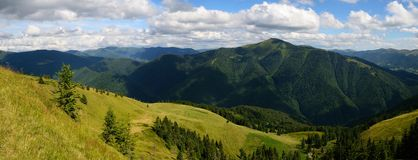 Panoramic day green mountains Royalty Free Stock Photo