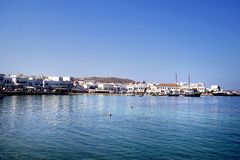 Panoramic day view of the old port of Chora in Mykonos. Greece royalty free stock photos