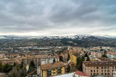 Panoramic day view of Potenza, Italy. POTENZA, ITALY - FEBRUARY 22, 2014: panoramic day view of city and mountains in Potenza, Italy. Potenza is the highest Royalty Free Stock Images