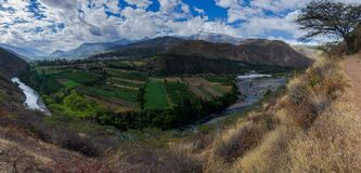 Free Panoramic Daytime Landscape With Clouds Of The Callejon De Huaylas With Rio Santa, Mountains Of The Andes, Agricultural Fields Stock Photography - 176381202