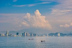 Panoramic daytime view of Nha Trang city, popular tourist destin Royalty Free Stock Images