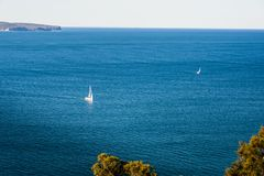 Scenic ocean panorama, sailing boats, Sydney North. Stock Photography