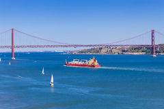Panoramic of 25 de Abril bridge Royalty Free Stock Image