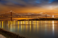 Panoramic of 25 de Abril bridge Royalty Free Stock Photos
