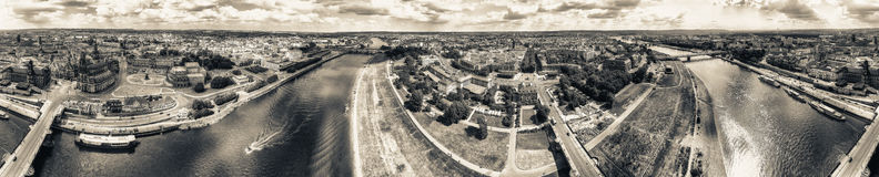 Panoramic 360 degrees aerial view of Dresden. Altstadt and Neust Royalty Free Stock Photography