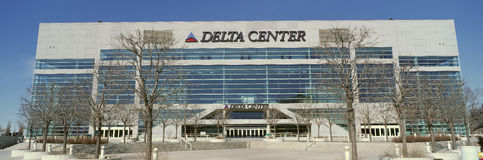 Panoramic of Delta Center building, Salt Lake City, UT Stock Images