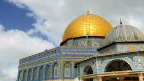 Panoramic of Dome of the Rock mosque in Jerusalem stock video footage