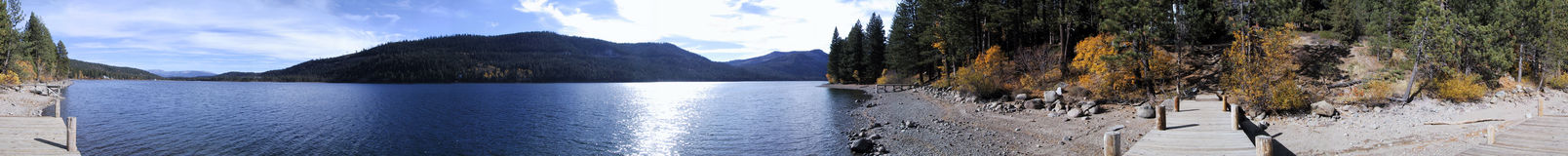 Panoramic Donner Lake. A 360-degree panoramic view from a pier of picturesque Donner Lake, California royalty free stock photo