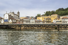 Panoramic from Douro river tour boat, view to Church Of Massarelos Stock Images