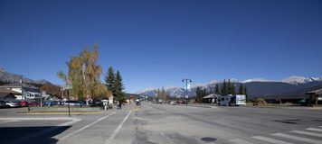 Panoramic of downtown Jasper, Canada stock photo