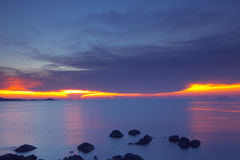 Panoramic dramatic pastel sunset sky and tropical sea image Royalty Free Stock Photography