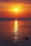 Panoramic dramatic sunset sky over sea at dusk Royalty Free Stock Image