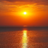 Panoramic dramatic sunset sky over sea at dusk Royalty Free Stock Photo