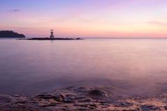 Panoramic dramatic sunset sky and tropical sea. Stock Photos