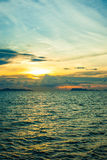 Panoramic dramatic sunset sky and tropical sea at Stock Image