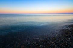 Panoramic dramatic sunset sky tropical sea at dusk Stock Photography