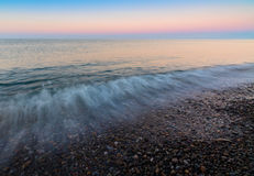 Panoramic dramatic sunset sky tropical sea at dusk Royalty Free Stock Images