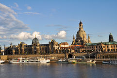 Panoramic of Dresden. From Elbe river Stock Photography