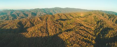 Panoramic drone shot of green hills. Thailand. royalty free stock photography