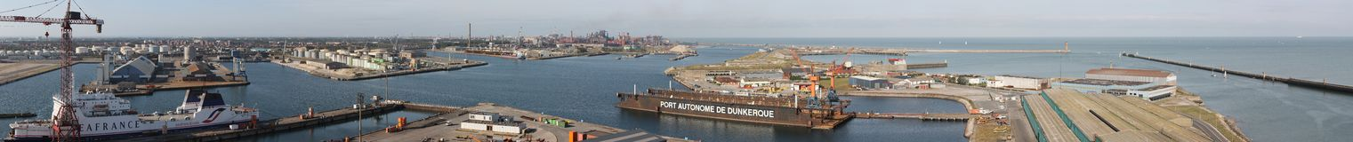 Panoramic Dunkerque harbour Stock Photo