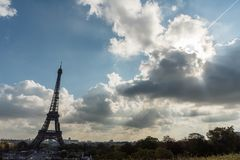 Panoramic Eiffel Tower vista taken from Trocadero in October Royalty Free Stock Photography
