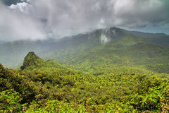 Panoramic El Yunque. Beautiful panoramic view over the hills in the jungle of the El Yunque national forest in Puerto Rico Stock Image