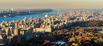 Panoramic elevated view of Central Park and Upper West Side in Fall. New York CIty Stock Photography