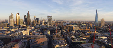 Panoramic elevated view of the financial district of London. England Stock Photo
